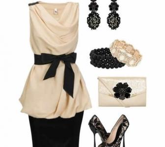 Gyöngyszínű szatén és elegáns fekete kombináció